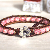 Boho Leather Bracelet, Shabby Chic, Czech Glass Beads