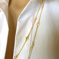 """Long Cubic Zirconia CZ and Gold Station Necklace, 48"""" and 60"""" Gold over Sterling Silver"""