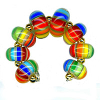 Lampwork Glass Bead Rainbow Stripe Karma Encased Beads