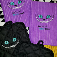 CHESHIRE Cat TOWELS & Pot HOLDERS SeT Embroidered STuNNING Details and Beautiful Turquoise BRiGHT Eyes Designs by Sugarbear