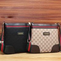 GUCCI Fashion New Leather Stripe More Letter Women Men Business Casual Shoulder Bag