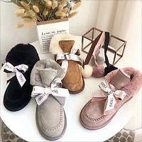 UGG Winter Trending Women Stylish Pompom Ball Bow Leather Wool Boots Shoes In Tube