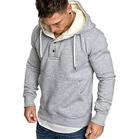 Mens Solid Color Zipper Hoodies Sweatshirts Sportswear Tracksuit