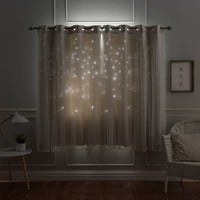 Aurora Home Star Punch Tulle Overlay Blackout Curtains | Overstock.com Shopping - The Best Deals on Curtains