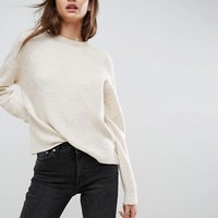 ASOS Sweater In Fluffy Yarn With Crew Neck at asos.com