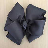 """Gray Bow, Double Stacked Bow, Boutique Hair Bow, Infant Bow, Hair Bows for Girls, Large Hair Bows, 4"""" Bow, 6"""" Bow, Ashtyn Baby Bow"""