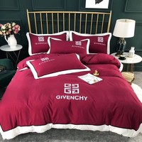 GIVENCHY Luxury Designer Bedding Blanket Quilt Coverlet 2 Pillows Shams 4 PC Bedding Set