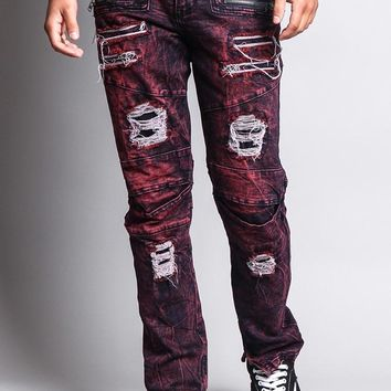 Men's Distressed Zipper Jeans