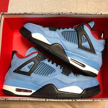 Nike Air Jordan 4 Retro Men Casual Sport Running Basketball Shoes Sneakers Blue