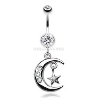 Glistening Moon and Star Belly Button Ring (Clear)