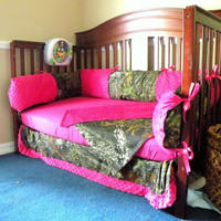 Hot pink and camo bedding set