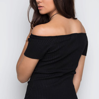 Gladness Ribbed Knit Top - Black