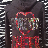 HEART FOREVER CHEER  Black and Red Hoodie Jacket