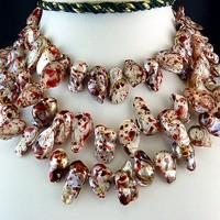 White Fireball Pearl with Red and Brown Accents Knotted Necklace