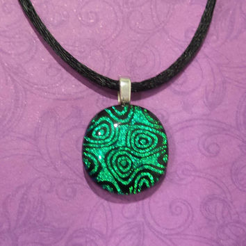 Green Pendant, Small Necklace, Sparkly Green and Black Dichroic Jewelry - Hattie --6