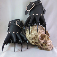 Black Leather Dragon Claw Gauntlets / Gloves Steampunk Goth Gothic BDSM