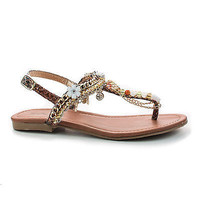 Twinkle Multi Thong Charm Beaded Chain T-Strap Slingback Flat Sandals Shoes