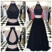 High Neck Black Two Piece Prom Dresses Evening Dresses