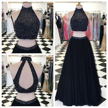 High Neck Two Pieces Prom Dresses