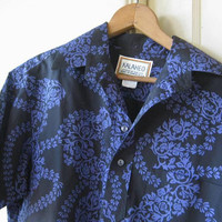 Men's Small Vintage Hawaiian Shirt in Black with French Blue; Medium-Weight Cotton Black Aloha/Tiki Party Shirt; U.S. Shipping Included