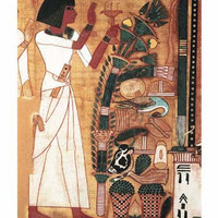 Papyrus from the Book of Neb Qued: Women with Offerings - 19th Egyptian Dynasty Art Print Art Print