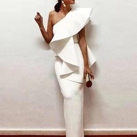 Olginua White Elegant Wedding Vibes Dress