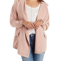 Draped Open Front Hooded Anorak Jacket