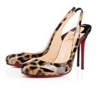 Fifi Sling 100 Brown Patent Leather - Women Shoes - Christian Louboutin