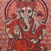 Indian Lord Ganesha Wall hanging Tapestry, curtain ,Lord Ganesha Poster, handmade bed cover, table cover, Bed spread,Batik Ganesh