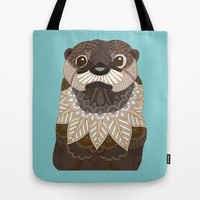Ornate Otter Tote Bag by ArtLovePassion