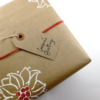 Wrapping Paper - Gift Paper - Hand Printed Recycled Brown Kraft Paper - Poinsettias