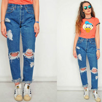 "High waisted Levis jeans Mom Distressed Ripped Destroyed pants Straight fit vintage hipster 1990's L Large size 31"" waist"