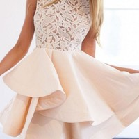 White Lace Strapless Short Homecoming Dress