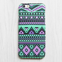 Pink and Turquoise Green Aztec iPhone XR 6 iPhone XS Max plus Case Ethnic iPhone 5 SE iPhone 4 Case Tribal Galaxy S8 S6 S5 Case 074