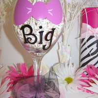 Big Pink Bow Hand Painted Wine Glass Pink Bow Painted Wine Glass for your Sorority