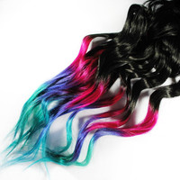 Ombre Rainbow Dip Dyed Tips - Human Hair Extensions by MissVioletLace