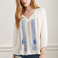 Gauzy Embroidered Peasant Top