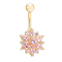 CrazyPiercing Beautiful Flower Cubic Zirconia Belly Button Bar Barbell Navel Ring Body Piercing Jewelry (Pink)