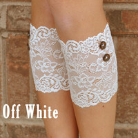 Lace Boot Cuffs - Faux Lace Boot Socks - Faux Lace Leg Warmers - Lace Boot Topper - Faux Knee High Sock - Womens - Off White