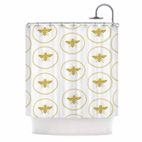 """Jennifer Rizzo """"Busy As A Bee White And Maize"""" Yellow Nature Shower Curtain"""
