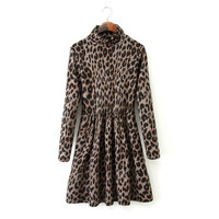 Winter Leopard Corset Slim Long Sleeve Dress One Piece Dress [4917802052]