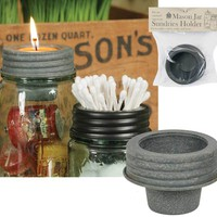 Set of 4 Mason Jar Tapered Cup Lids - Barn Roof
