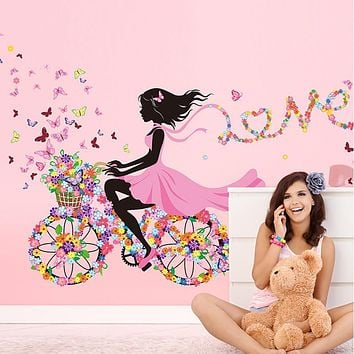 Personality Fairies Girl Butterfly Flowers Art Decal Wall Stickers For Home Decor DIY Mural Kids Rooms Wall Decoration 1pcs