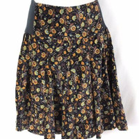 Free People Skirt 4 S size Black Yellow Floral Velour Ribbed Knitted Waist