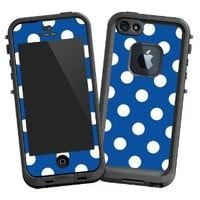 """White Polka Dot on Royal Blue """"Protective Decal Skin"""" for LifeProof fre iPhone 5/5s Case"""
