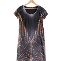 Boho Washed Long Dress with Crocrodrile Printing ideal for festival. 100% Cotton