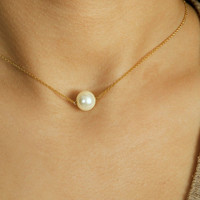 Single Pearl Necklace / One Pearl Choker / White Jewelry / Elegant Everyday Jewelry / Simple Layering Jewellery / JulenJewel / N118