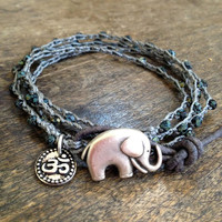 Elephant, Rustic Silver Om Knotted Multi Wrap Bracelet, Bohemian Chic