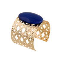 Hollow Out Gold Bangles Trendy Cuff Bracelets Bangles Geometric Stone Opening Bracelet  Luxury Famous Brand Jewelry
