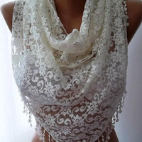 Valentines Day Super elegant scarf Lace scarf...Perl color